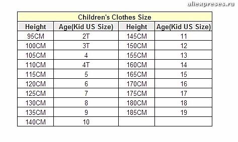 детские размеры на алиэкспресс таблица